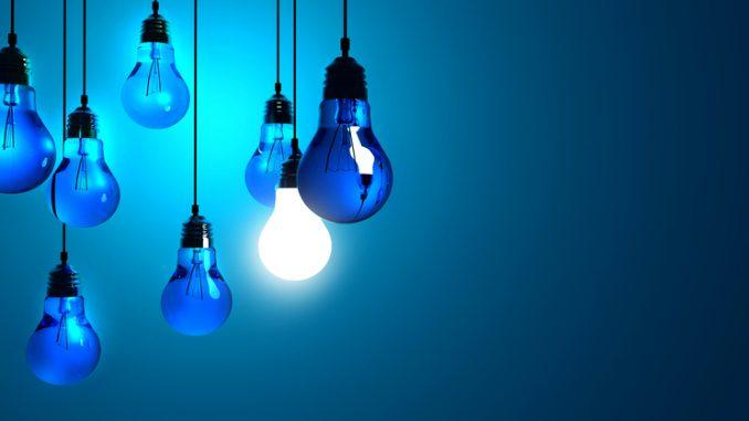 Idea concept, Hanging light bulbs